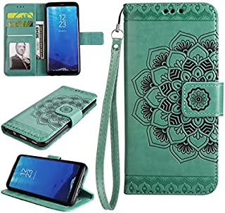 Protective Case Compatible with Samsung Embossed Half Flower Design [Wrist Strap] Premium PU Leather Wallet Pouch Flip Stand Case Compatible Samsung Galaxy S8 Phone case (Color : Green)