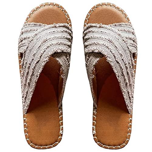 Adinbxeun Cleo Espadrille Slides- Flat-Bottomed Straw Cross Fisherman Shoes Bohemian Outer Wear Sandals and Slippers,Women Summer Flat Sandals Open Toe Sandals Comfort Cross Sandals (C,37)