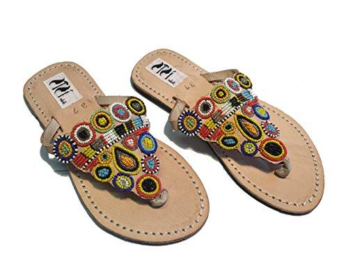 SISI mbili Sandali Donna Originali Kenya Modello Scudo con Perline Collezione (36)