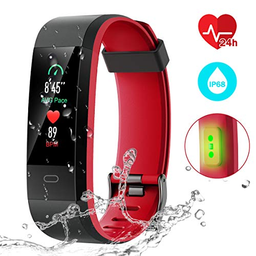Fitness Tracker [Latest Version], CHEREEKI Color Screen Activity Tracker Smart Bracelet Waterproof IP68 Pedometer Watch 24-Hours Heart Rate Monitor/ 14 Sport Modes for Android & iOS (Black and Red)