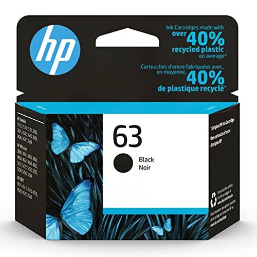 Original HP 63 Black Ink Cartridge   Works with HP DeskJet 1112, 2100 Series, 3600 Series, HP ENVY 4500 Series, HP OfficeJet 3800 Series, 4600 Series, 5200 Series   Eligible for Instant Ink   F6U62AN
