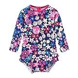 Toddler Girls Rashguard One Piece Swimsuit Kids Swimwear Long Sleeve Floral Printed Ruffle Beach Bathing Suit (Floral, 3-4T)