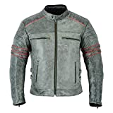 MOTORCYCLE JACKET FOR MEN LEATHER VINTAGE BIKERS DISTRESSED CAFE RACER ARMOR STYLE VENTILATED CE ARMORED GRAY/RED DC-2808A (M)
