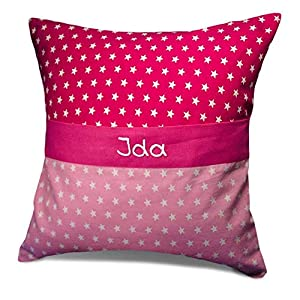Kinderkissen 40x40cm Sterne Pink mit Namen und Geheimfach Spielekissen Kissen personalisiert – Geschenk zu Weihnachten…