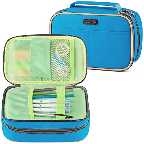 Homecube Pencil Case Big Capacity Storage Pen Bag Makeup Pouch Durable Students Stationery Two Big Pockets With Double Zipper- 8.7x6x3.2'- Blue