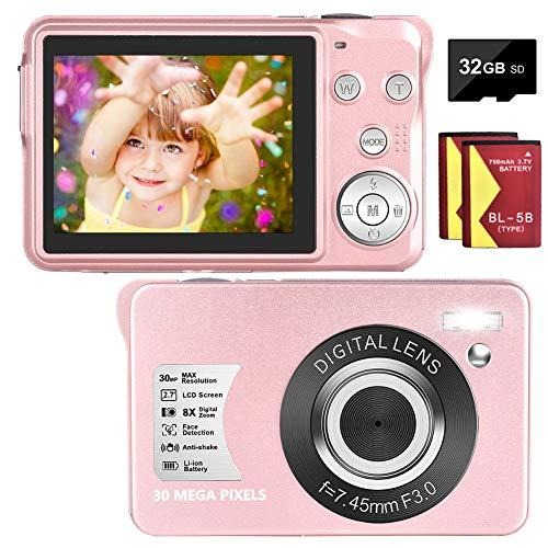 Digitalkamera 30 MP 1080P Fotoapparat Digitalkamera Kompaktkamera 8X Digital Zoom-Minikamera 2,7-Zoll-LCD-Bildschirmkamera (BS-DC5P2)