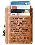 Engraved Leather Front Pocket Wallet Gift for Son Husband Grandson Minimalist Slim Wallet RFID (To My Grandson)