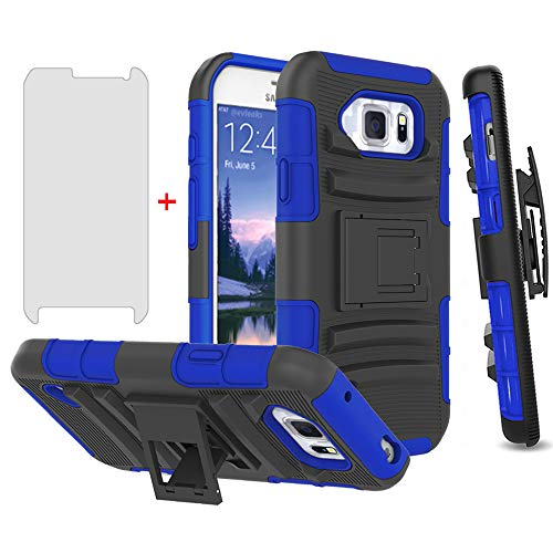 Phone Case for Samsung Galaxy S6 Active with Tempered Glass Screen Protector Cover and Holster Belt Clip Rugged Hard Protective Cell Accessories Glaxay S6Active 6s S 6 6Active G890A Cases Black Blue