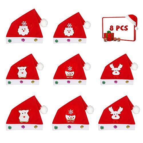 Aipaide Gorros de Navidad 8 Piezas Sombreros de Navidad de 4 Patrones de Papá Noel, Muñeca de Nieve, Reno y Ciervo, Rojo Sombrero de Santa de 2 Tamaños para Adultos y Niños