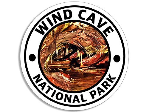 LPF USA Magnet Round Wind CAVE National Park Magnetic Sticker (Hike Travel rv)
