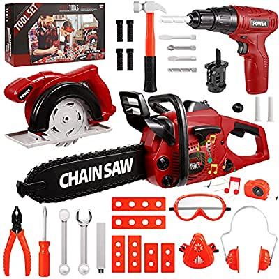 Vextronic 36 PCS Kids Tool Set with Toy Chainsaw Electronic Toy Drill with Sound and Light, Pretend Play Kids Tool Box Construction Toy, Great Toy Tool Set for Toddlers Boys Girls Ages 3+ from Vextronic