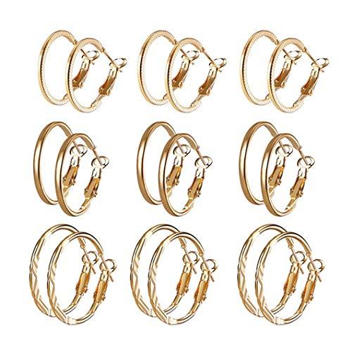 Sperrins 9 Paar Metall Creolen Set Einfach Übergroße Big Circle Ohrringe Hochzeitsschmuck, Gold