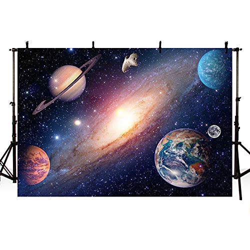 MEHOFOTO Outer Space Planet Starry Sky Birthday Party Decorations Photo Studio Background Midnight Blue Backdrops Banner for Photography 7x5ft