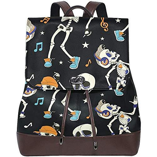 Bookbag,Music Ghost Skull Women's PU Leather Backpack Bookbag School Shoulder Bag