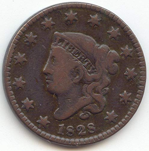 1828 Coronet Head Small Wide Date Large Cent Very Fine Details