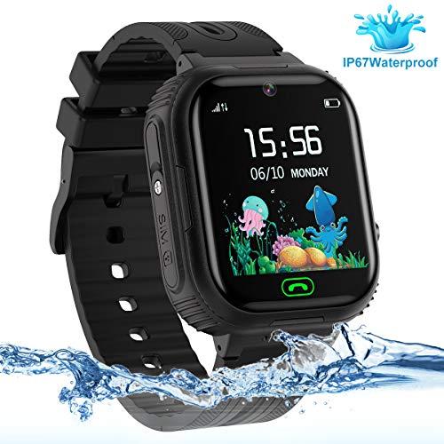 LDB Reloj Inteligente para Niños, SmartWatch Niños GPS/LBS Tracker SOS Impermeable Pantalla Táctil Llamada Bidireccional cámara de 3-12 Años Perfecto Regalo de Cumpleaños para Niños Niñas (Negro)