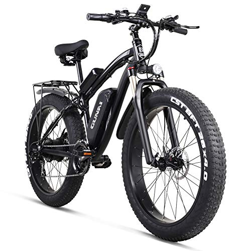 "GUNAI Electric Bike1000W 48V Off-road Fat 26"" 4.0 Tire E-Bike Electric Mountain Bike with Rear Seat(Black)"