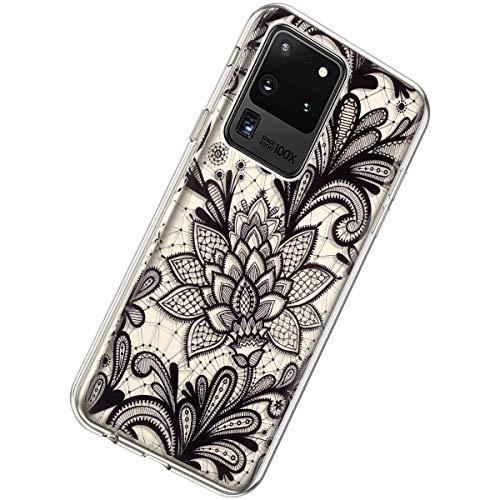Herbests Kompatibel mit Samsung Galaxy S20 Ultra Hülle Silikon Weich TPU Handyhülle Durchsichtige Schutzhülle Niedlich Muster Transparent Ultradünn Kristall Klar Handyhülle,Schwarz Blumen