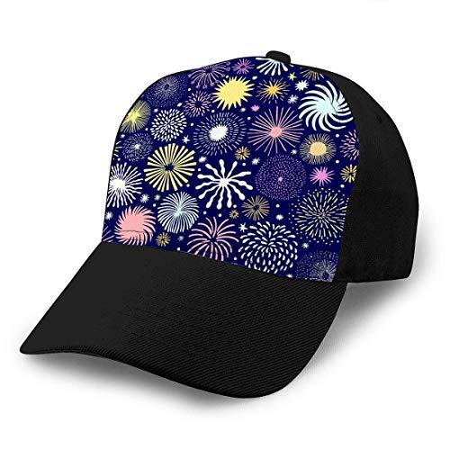 Nifdhkw Klassische Unisex Baseballkappe verstellbares Feuerwerk Holiday Star Hintergrund hell