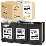 Superpage 302XL Kompatibel für HP 302 XL Schwarz Tintenpatronen für HP Officejet 3833 3834 3830 3832 4650 4654 Deskjet 3630 2130 1110 Envy 4522 4524 4525 4520 Drucker(3er-Pack Patrone)