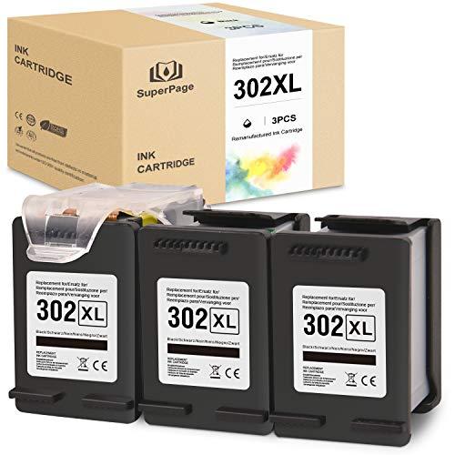 Superpage Compatible pour HP 302 XL Noir Reconditionné Cartouches d'encre pour HP Officejet 3833 3834 3830 3832 4650 4654 Deskjet 3630 2130 1110 Envy 4522 4524 4525 4520 imprimantes(3er-Pack Patrone)