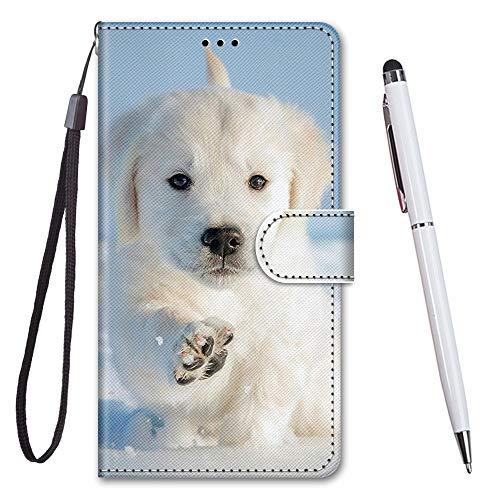 TOUCASA für Galaxy A80 Hülle, Handyhülle für Galaxy A90,Premium Brieftasche PU Leder Flip [Kreativ Gemalt] Hülle Handytasche Klapphülle für Samsung Galaxy A80 / A90 (Schneewelpe)