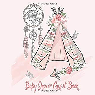 Baby Shower Guest Book: Floral Pink Rose Gold Silver Glitter Boho Chic Garden Theme, Welcome Baby Girl , Advice for Parents, Message & Wishes Sign in Guestbook Memory Keepsake with Gift Log
