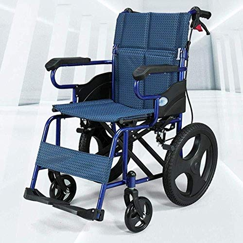 Wheelchair Selbstfahrer Rollstühle, 38 cm Sitztiefe, Folding Mobility-Gerät for Enge Innen Transporation und einfache Lagerung, Compact Rollstuhl Senioren (Color : Blue1)