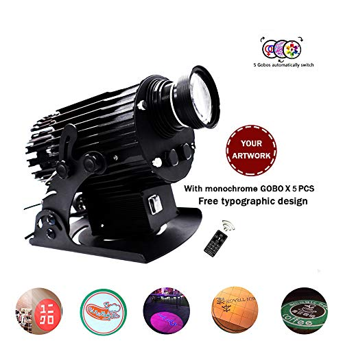 AMAZOIN 150W LED Custom Image Phantom Rotating GOBO Projector Light with Remote Control Switch Customized Gobos for Company Store Wedding Event Advertising
