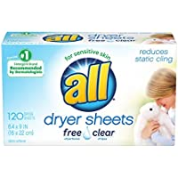 120-Count all Fabric Softener Dryer Sheets for Sensitive Skin