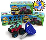 Hot Wheels Monster Trucks Mini Mystery Trucks with Key Launcher Series 2 Blind Box Gift Set Party Bundle - 3 Pack