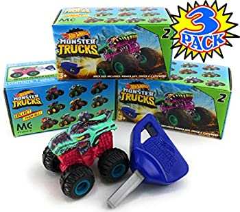 Hot Wheels Monster Trucks Mini Mystery Trucks with Key Launcher  Assorted Series  Blind Box Gift Set Party Bundle - 3 Pack