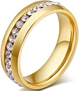 Kingray Jewelry 8mm Gold Plated Stainless Steel Eternity Ring Wedding Band Size 5-15