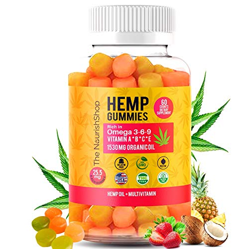 Hemp Gummies Premium 1530MG 60 Counts | Hemp Oil Gummy Supplement for Anxiety, Sleep, Mood & Stress Relief | Rich in Omega 3-6-9 Vitamin B C E | Anti Inflammatory Made in USA by The NourishShop