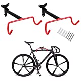 PHUNAYA Bike Hanger Wall Mount Bike Hook Horizontal Foldable Bicycle Holder Garage Bike Storage Bicycle Hoist Heavy Duty Screws (2 pack)