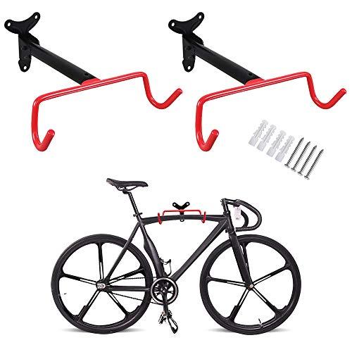 PHUNAYA Fahrradhaken, Wandhalterung, horizontal, faltbar, Fahrradhalterung, für Garage, Fahrrad, Aufbewahrung, robust, Schrauben, 2er-Set