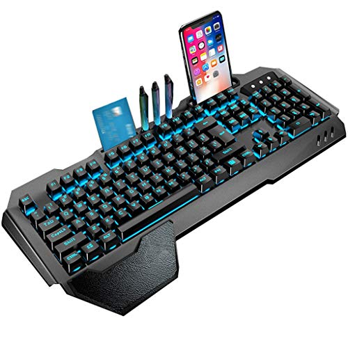 ARCH Metal Panel Mechanical Keyboard with Widened Ergonomics Wrist Rest,Penholder,Waterproof Gaming Keyboard for Laptop Computer PC Games (Color : C)