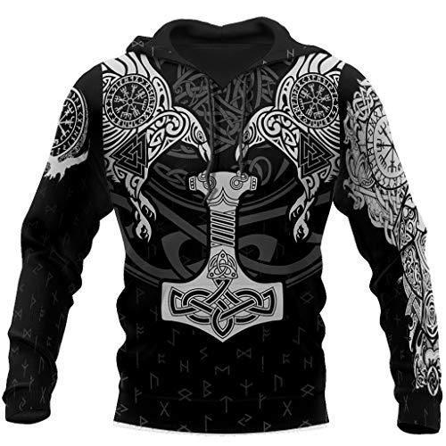 Viking Norse Mythology Rune Tattoo Sweatshirt, 3D Tie-Dye Odin Thor's Hammer Crow Totem, Unisex Handmade Autumn Winter Fashion Casual Hoodie Sweater with Big Pockets,A,7XL