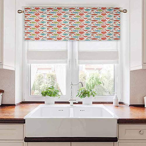 Aishare Store Elegant Window Valance, Colorful Tea Party Illustration with Pots Cups Spoons on Colorful Dotted Pattern, 42' W x 18' L Rod Pocket Valance Curtain Panels for Small Window, Multicolor
