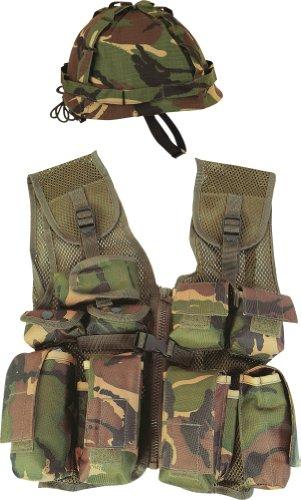 Costume travestimento militare per bambini elmetto e gilet da combattimento mimetico soldato taglia 5-12 anni