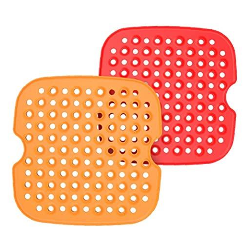 Matetas de freidor de aire de silicona Resistencia al calor 8.5 pulgadas cuadradas cuadradas fáciles de fregarse 2pcs, freidora eléctrica