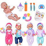 4 Set Doll Clothes+Accessories Include 2 Magic Milk Feeding Bottles,1 Silicone Teether,1 Nipple,2 Spoons,1 Diaper for 43cm New Born Baby Dolls (No Doll)