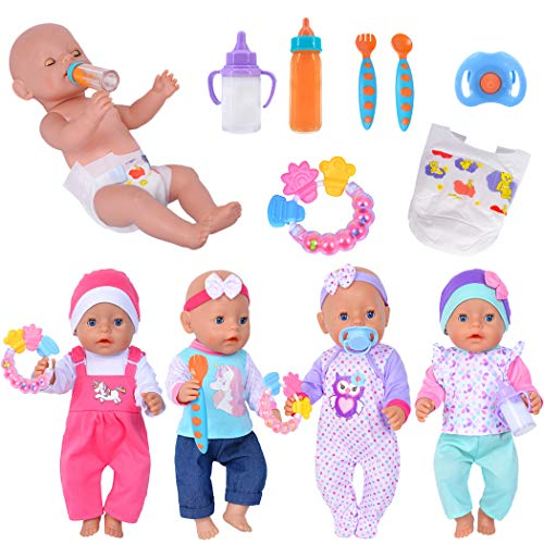 4 Set Doll Clothes+Accessories Include 2 Magic Milk Feeding Bottles,1 Silicone Teether,1 Nipple,2 Spoons,1 Diaper for 43cm New Born Baby Dolls