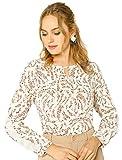 Allegra K Damen Langarm Crew Neck Cut Out Ruffle Blumen Top Bluse Weiß M