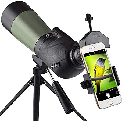 Gosky Spotting Scope with Tripod, Carrying Bag and Scope Phone Adapter - BAK4 45 Degree Angled Eyepiece Scope for Target Shooting Hunting Bird Watching