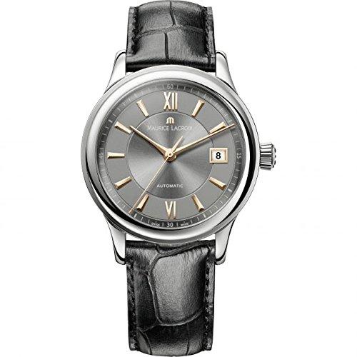 Maurice Lacroix Les Classiques Automatique Date Herren-Armbanduhr mit schwarzem Lederband LC6027-SS001-310-1