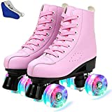 PHSDA Classic Roller Skates for Women PU Leather Premium Roller Skates Black Skates Shiny Four Wheels Roller Derby Skates for Kids and Adults (43/280/us 9, Pink+Flash)