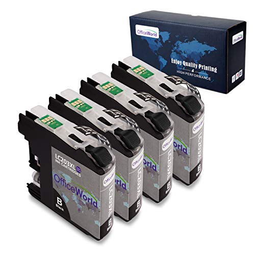 OfficeWorld Compatible LC203 Ink Cartridge Replacement for Brother LC203 203XL LC203XL (Black,4 Pack), Compatible with Brother MFC-J480DW, MFC-J460DW, MFC-J880DW, MFC-J680DW, MFC-J4420DW, MFC-J4620DW