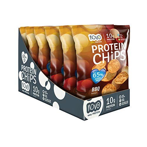Novo Nutrition | Protein Chips | BBQ Flavour | Healthy Savoury Snack with High Protein, Low Sugar and High Fibre | Suitable for Vegans | Pack of 6 x 30g