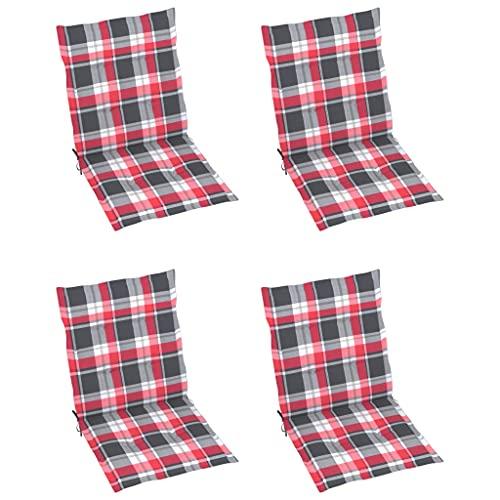 vidaXL 4X Cojines para Silla de Jardín Asiento Tumbona Patio Terraza Balcón Exterior Acolchado con Respaldo Alto Decoración a Cuadros Rojo 100x50x4 cm